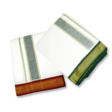Dhoti (Pancha) With Shawl In Pure Cotton